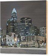 Charlotte Queen City Skyline Near Romare Bearden Park In Winter Snow Wood Print by Alex Grichenko