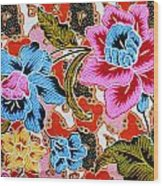 Colorful Batik Cloth Fabric Background  Wood Print by Prakasit Khuansuwan