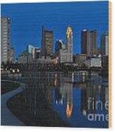 Columbus Ohio Skyline At Night Wood Print