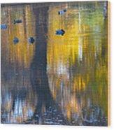 8 Ducks On Pond Wood Print