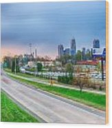 Early Morning Sunrise Over Charlotte City Skyline Downtown Wood Print