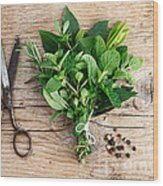 Kitchen Herbs Wood Print