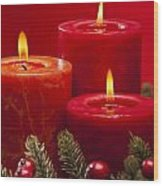 Red Advent Wreath With Candles Wood Print