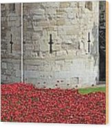 Remembrance Poppies At The Tower Of London Wood Print