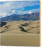 Sand Dunes In A Desert, Great Sand Wood Print