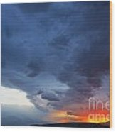 Stormclouds And Sunset Above Mountains At Toktogul In Kyrgyzstan Wood Print