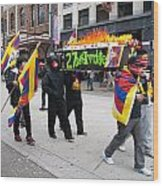 Tibetan Protest March Wood Print
