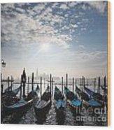 Venice With Gondolas Wood Print