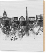 Washington Dc Skyline In Watercolor On White Background Wood Print