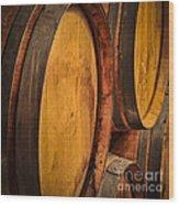 Wine Barrels Wood Print by Elena Elisseeva