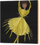 8 Yellow Ballerina Wood Print