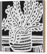 Schwiebert Plant Leaves Black And White Wood Print