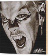80's Vampire Wood Print by Michael Mestas