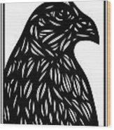 Bruh Eagle Hawk Black And White Wood Print