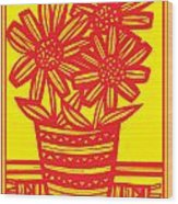 Famished Flowers Black And White Wood Print