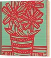 Worship Excelsior Flowers Red Green Blue Wood Print