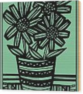 Evocative Flowers Red Blue Green Wood Print