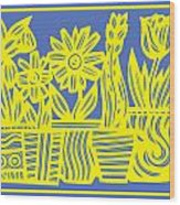 Impedimenta Flowers Yellow Red Green Wood Print