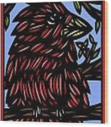 Batra Bird Brown Black Green Blue Wood Print