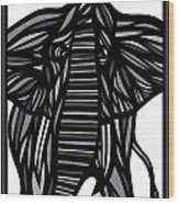 Batra Elephant Grey Black White Wood Print