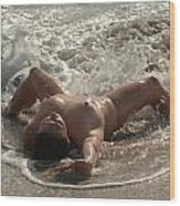 8470 Nude Island Girl Lying In Surf Wood Print
