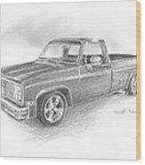86 Chevy Truck Pencil Portrait  Wood Print