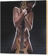8790 Nude With 5 String Bass Guitar Wood Print