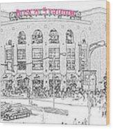 8th And Clark Busch Stadium Sketch Wood Print