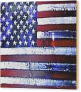 9-11 Flag Wood Print by Richard Sean Manning