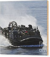 A Landing Craft Air Cushion Transits Wood Print