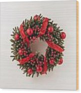 Advent Christmas Wreath  Wood Print