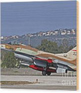 An F-16a Netz Of The Israeli Air Force Wood Print