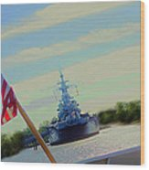 Battleship North Carolina Wood Print