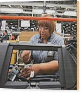 Car Dashboard Assembly Line Wood Print