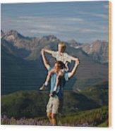 Family Hiking Wood Print