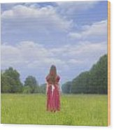 Girl On Meadow Wood Print