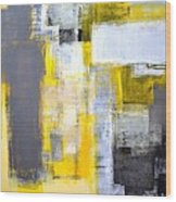 Busy Busy - Grey And Yellow Abstract Art Painting Wood Print