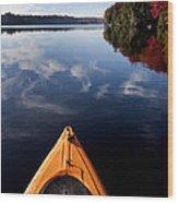 Lake In Autumn Wood Print