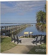 Melbourne Beach Pier In Florida Wood Print