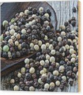 Peppercorn And Spoon Wood Print
