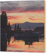 Port Clyde Maine Fishing Boats At Sunset Wood Print
