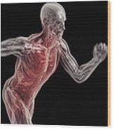 Running Male Figure Wood Print