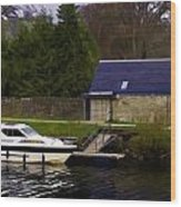 Small White Yacht In The Water Of The Caledonian Canal Wood Print