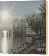 Sunshine Over An Alpine Lake Wood Print