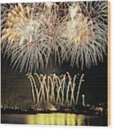 Wa, Seattle, Fireworks On July 4th Wood Print