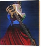 9091 Nude With Bass Guitar Wood Print