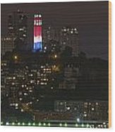 911 Commemorative Lighting On Coit Tower Wood Print