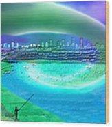 920 - Blue City On The Sea Wood Print