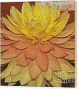#928 D801 Dahlia Orange Yellow Pink Green Wood Print
