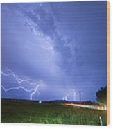 95th And Woodland Lightning Thunderstorm View Wood Print